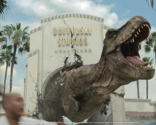 Jurassic World's Iconic Tyrannosaurus rex and Mosasaurus Invade Universal Studios Hollywood in anticipation of the new mega attraction, Jurassic World-The Ride