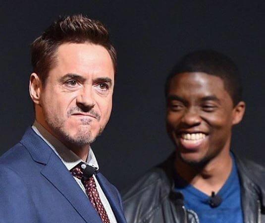 Chadwick Boseman wishing Robert Downey Jr. Happy Birthday