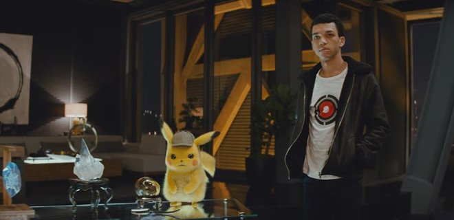 Detective Pikachu and and Tim Goodman in Pokémon Detective Pikachu