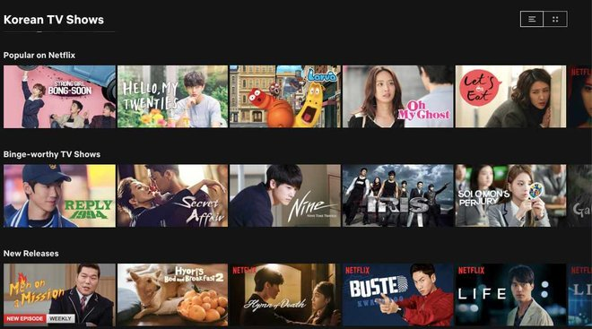 Netflix has a whole category of Korean TV shows from kids' cartoons to dramas and reality shows.