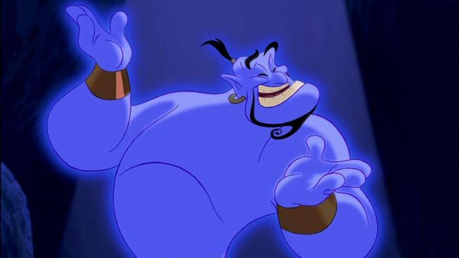 Robin Williams voiced the animated Genie