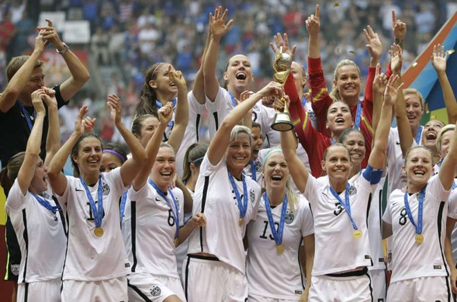 The United States Women's National Team celebrates winning the FIFA Women's World Cup in 2015