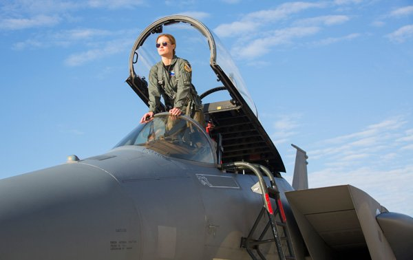 Carol Danvers in her plane