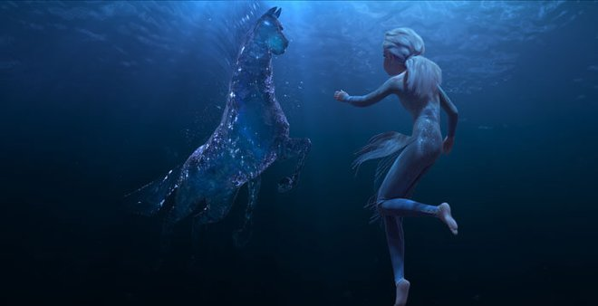 Elsa encounters a Nokk—a mythical water spirit that takes the form of a horse—who uses the power of the ocean to guard the secrets of the forest.