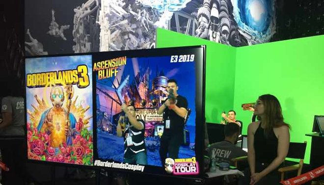 Borderlands 3 guests were treated to stage makeup before their green screen debut