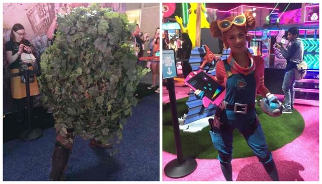 Fortnite characters were available at the booth for photo ops