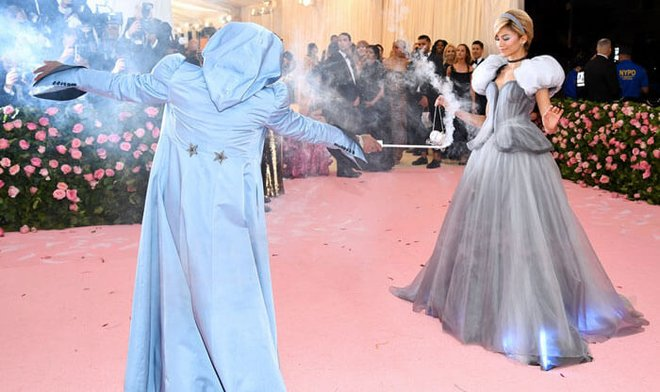 Zendaya dressed as Cinderella in a light-up Tommy Hilfiger dress at the 2019 Met Gala