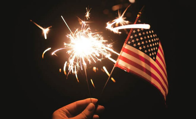 Get ready to celebrate with flags and sparklers!