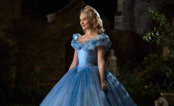 A blonde Lilly James as Cinderella