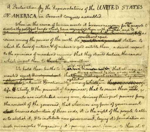 The first draft of the Declaration of Independence.
