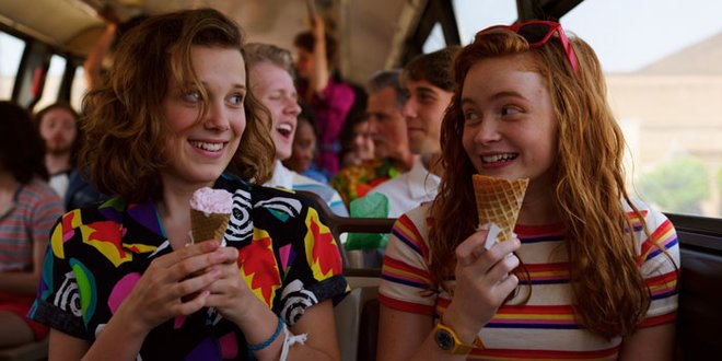 Eleven and Max dig into some ice cream in a lighter moment.