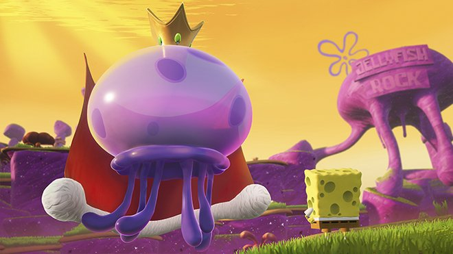 Spongebob and King Jellyfish in the new, beautiful graphics style