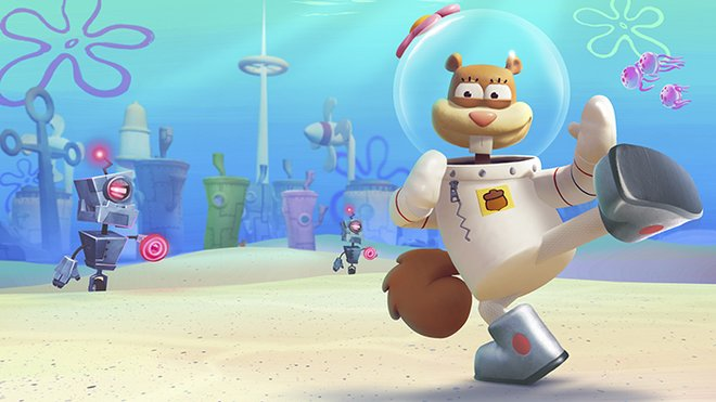 Sandy Cheeks ready to show the robots her karate skills