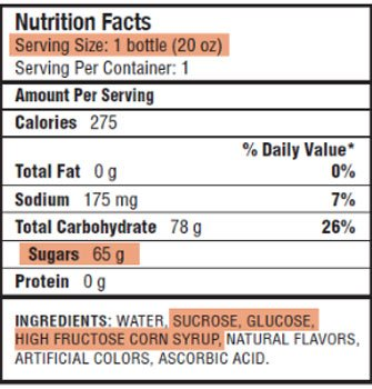 Look at the servings, sugars and ingredients on drink labels.