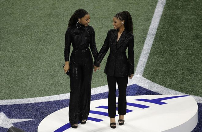 Chloe x Halle singing at the Super Bowl.