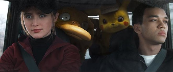 Lucy, Psyduck, Pikachu and Tim on way to lab
