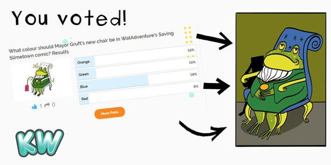 Kidzworld users voted for Mayor Gruft's chair colour - we illustrated the final result into Saving Slimetown.