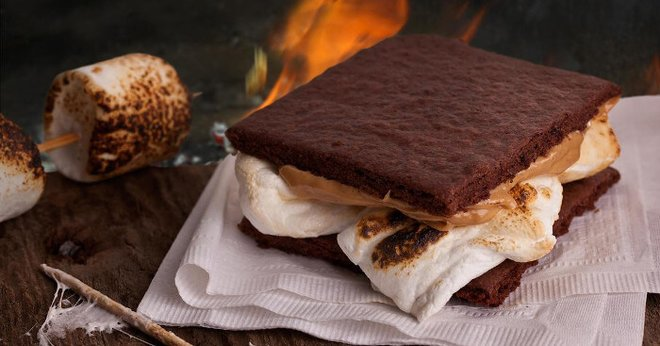 Chocolate graham crackers add extra chocolatey goodness to this s'more!